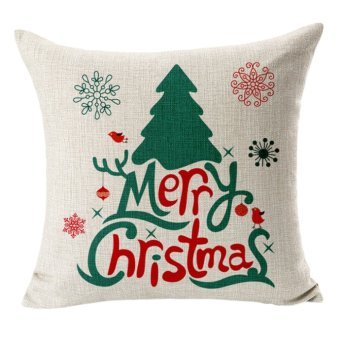 Merry Christmas elderly snowman elk cotton pillowcase - Intl