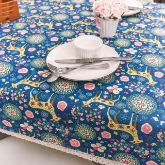 Merry Christmas Elk Wapiti Rectangular Printed Fabric Tablecloth 140*180cm BU - intl