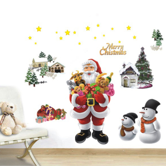 Merry Christmas The Santa Claus Removable Wall Stickers Art Decals Mural DIY Wallpaper for Room Decal 50 * 70cm - picture 2