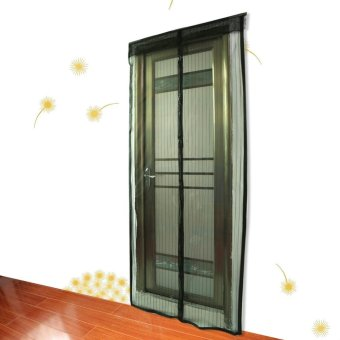 Mesh Screen Anti Mosquito Pest Door Curtain Net with Magnets 210 * 90cm Black - intl
