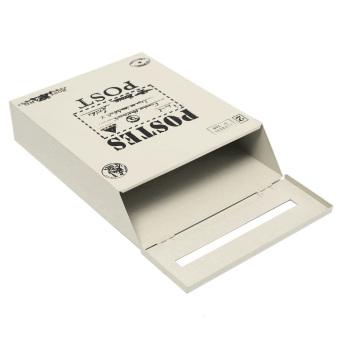 Metal Tin Locking Waterproof Post Card Mailbox Vintage Wall Hanging Mail Box New creamy-white - Intl - 4