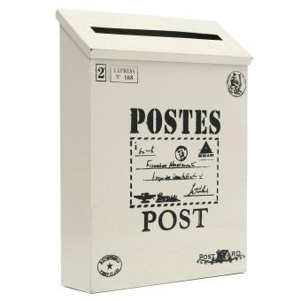 Metal Tin Locking Waterproof Post Card Mailbox Vintage Wall Hanging Mail Box New creamy-white - Intl - 2