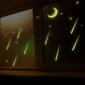 Meteor Shower Moon Stars Night Lighting Wall Decal Home Sticker PVC Murals Vinyl Paper House Decoration WallPaper Living Room Bedroom Kitchen Art Picture DIY for Children Teen Senior Adult Nursery Baby - Intl