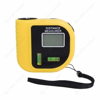 Mini 15 meters Ultrasonic Distance Measurer With Bubble Level LCD Laser Pointer (Yellow)