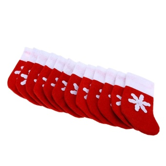 Mini Christmas Tree Stocking Decoration Dinnerware Holder (Red With White) - intl - 2