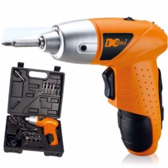 Mini Portable Electric Drill Cordless Screwdriver 45pcs TOOLs(Orange)