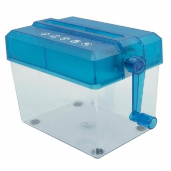 Mini Portable Personal Home Office Desktop Manual Hand Crank Paper Cutter Hand Paper Shredder Blue
