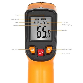 Minicar Deep Yellow Non-contact Digital Laser Infrared Thermometer- intl - 4