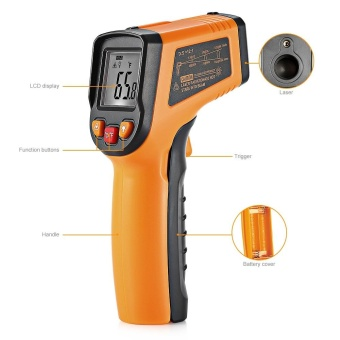 Minicar Deep Yellow Non-contact Digital Laser Infrared Thermometer- intl - 3