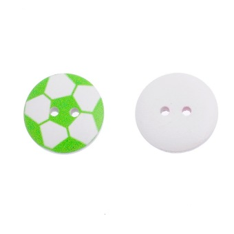 Mixed Football Wooden Buttons 20mm - picture 2
