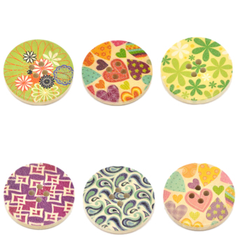 Mixed Pattern Wood Sewing Buttons Scrapbooking 30mm Nature