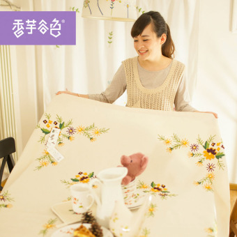 Modern fresh cotton linen round tablecloth Fabric