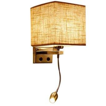 Modern LED Cloth Wall Lamp Hallway Bedroom Bedside Lights color:Flaxen size:1 spotlight - intl - 2