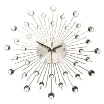 Modern Metal Sunburst Wall Clock Clear Diamante Crystal Beaded Jeweled Home Deco - 2