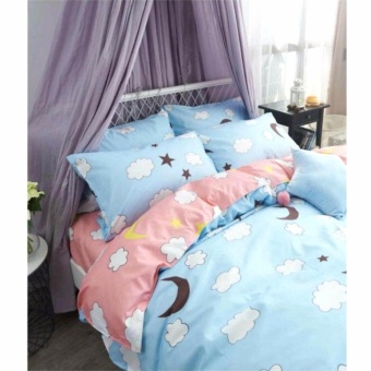 MODERN SPACE High Quality Bedsheet Single Size With FREE Two PillowCases Moon Printed Design
