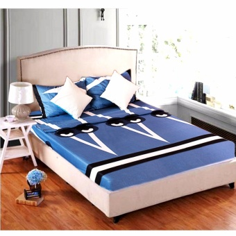 MODERN SPACE High Quality Fitted Bedsheet Single Size With FREE TwoPillow Cases Monster Blue Printed Design Price Philippines