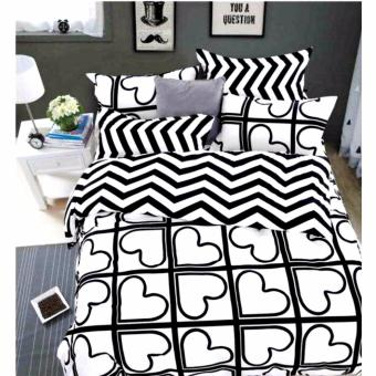 MODERN SPACE High Quality US Cotton Fitted Bedsheet Single Size With FREE Two Pillow Cases Heart Printed Design
