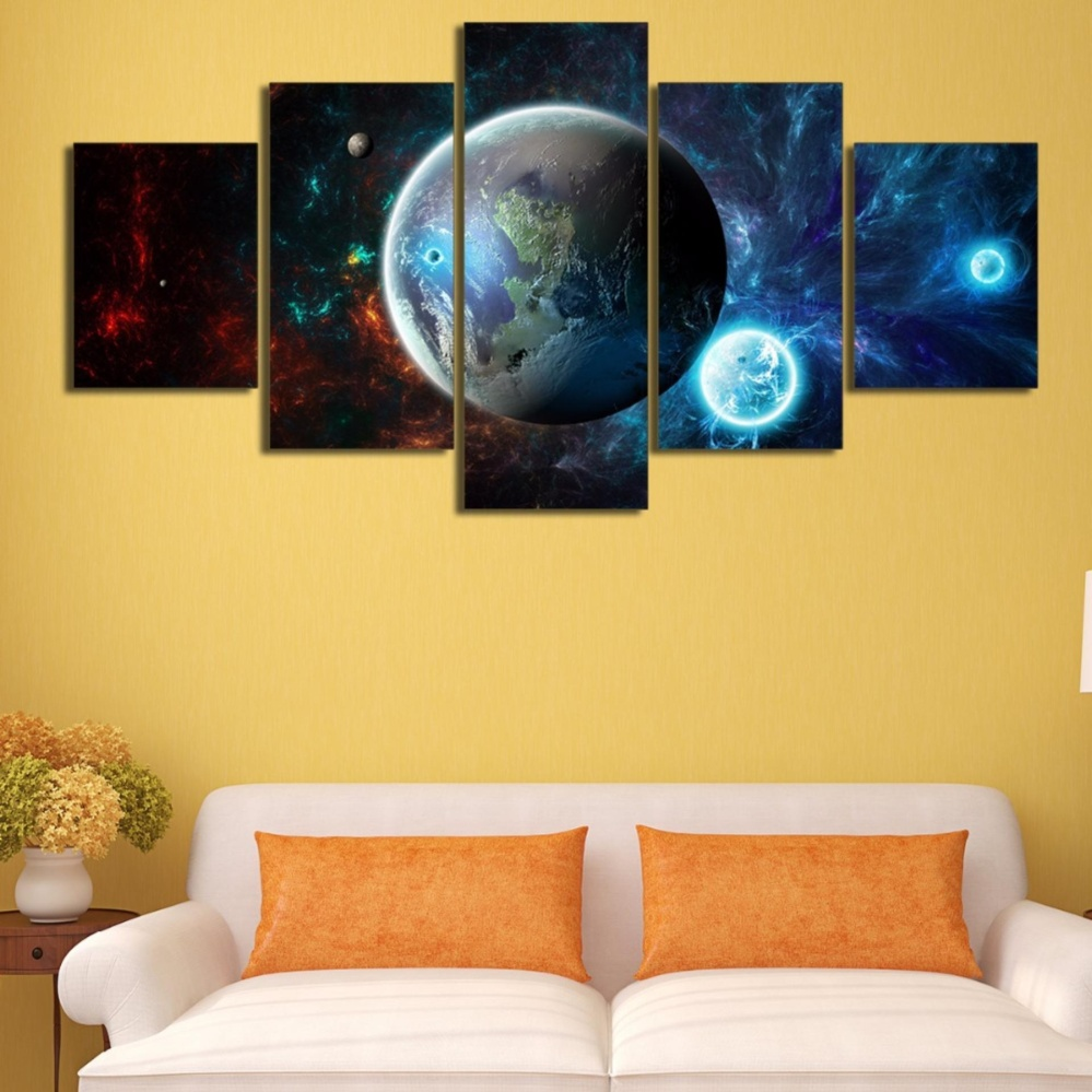 Philippines | Modern Wall Art Painting 5 Panel No Frame Galaxy Earth ...
