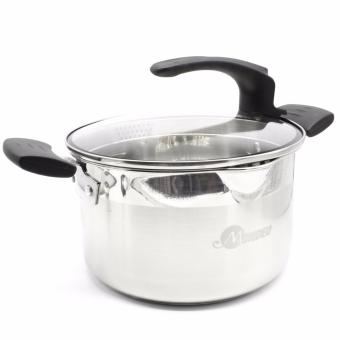 MONDEO 22cm Stainless Steel Double Bottom Filter-Mouth Soup Pot