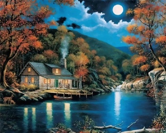 Moon Night Landscape House Acrylic Oil Painting By Number Kits DIY Craft 20X16'' - intl - 2