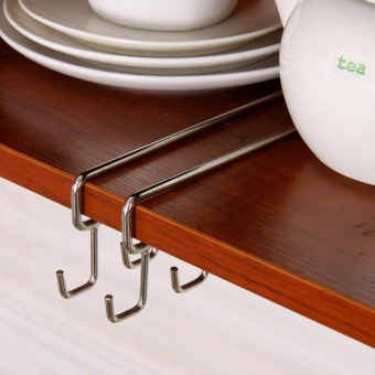 ... Mug Holder Coffee Tea Cup Rack Storage Kitchen Under Shelf Cabinet  Hanger Hooks   Intl