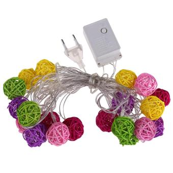 Multi Colour Rattan Ball LED Fairy Lights 20Light Wicker Cane for Christmas - picture 2