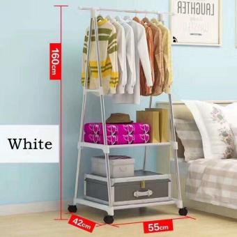 Multifuctional Garment Laundry Rack with 2-tier Shoe ClothesStorage Shelves (White)