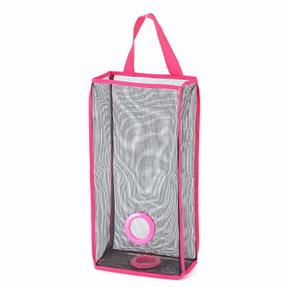 ... Multifunction Folding Shopping Bag Organizer Storage Bag BreathableMesh  Kitchen Garbage Bag Storage Hanging Bag (Pink ...