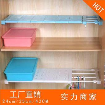 Multifunctional 60cm Lenght Retractable Wardrobe Storage RackKitchen Shelf Holder Bathroom Shelves Cabinet Partition SeparatedOrganizer (White) - 4
