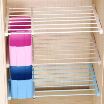 Multifunctional 60cm Lenght Retractable Wardrobe Storage RackKitchen Shelf Holder Bathroom Shelves Cabinet Partition SeparatedOrganizer (White) - 5