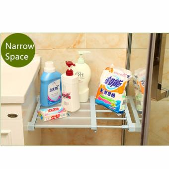 Multifunctional 60cm Lenght Retractable Wardrobe Storage RackKitchen Shelf Holder Bathroom Shelves Cabinet Partition SeparatedOrganizer (White) - 2