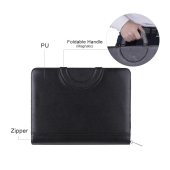 Multifunctional PU A4 File Zipper Manager Brief Case DocumentFolder Organizer Business Office Portfolio Data Pocket Holder with8 Digit Calculator Magnetic Handle - intl - 2