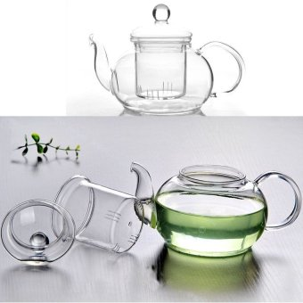 Mushroom Heat Resistant Glass Teapot Infuser Tea Pot Clear 350ML (Intl) - picture 2