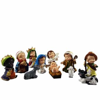 Nativity Scene Cutie Set of 12 with St Joseph, Virgin Mary, Jesus,Three Kings, Shepherd, and Angel Figurine Religious Item (Made ofFiberglass Resin) by Everything About Santa (Christmas decorationand gift suggestion)