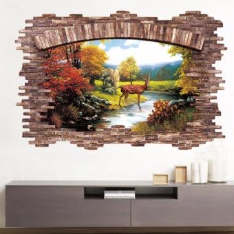 New 3D Golden Deer Bedroom Living Room Removable Wall Stickers -intl - 3