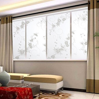 New 45x100cm Frosted Privacy Cover Glass Window Plum Floral Flower Sticker Film