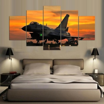 New Aviation airplane Canvas Art Painting 5 Panel No Frame Wall ArtSunset Pictures For Home Wall Decor Poster - intl