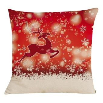 New Christmas Cotton Linen Pillow Case Sofa Cushion Cover Home Decor - intl