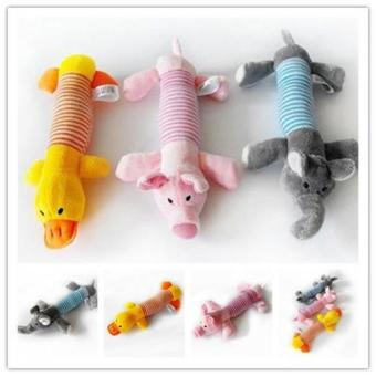 New Dog Pet Puppy Plush Squeaker Squeaky Toys Pig Duck & Elephant toys - intl - 4