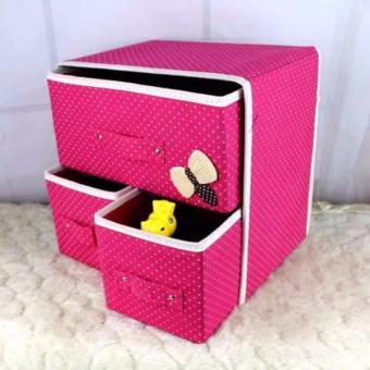 New Folding 3 Drawer Fabric Storage Box Organizer - 3
