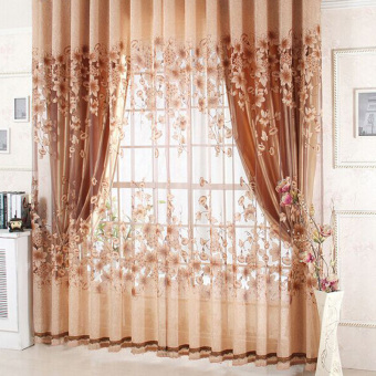 new sheer curtain panel drape floral window balcony room coffee - Sheer Curtain Panels