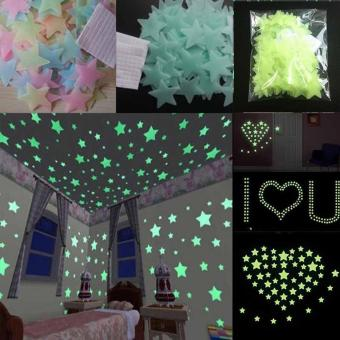 niceEshop 100pcs Wall Stickers Decal Glow In The Dark Baby KidsBedroom Home Decor Color Stars Luminous Fluorescent Wall StickersDecal (Lake Blue) - intl - 5