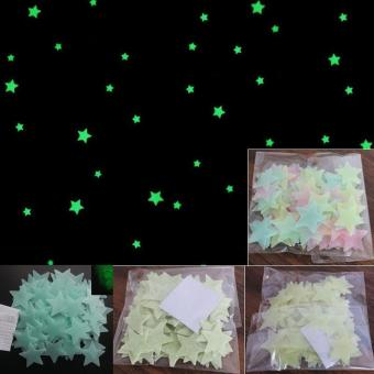 niceEshop 100pcs Wall Stickers Decal Glow In The Dark Baby KidsBedroom Home Decor Color Stars Luminous Fluorescent Wall StickersDecal (Lake Blue) - intl - 3