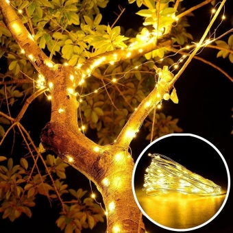 niceEshop Indoor Fairy Starry 5M String Lights,17ft 100 LED 3AAFlexible Silver Battery Operated Multi-color Mini Christmas DecorLights With Remote Timer For Thanksgiving, Bedroom,Christmas Tree(Warm White Light) - intl - 5