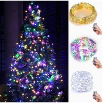 niceEshop Indoor Fairy Starry 5M String Lights,17ft 100 LED 3AAFlexible Silver Battery Operated Multi-color Mini Christmas DecorLights With Remote Timer For Thanksgiving, Bedroom,Christmas Tree(Warm White Light) - intl - 2