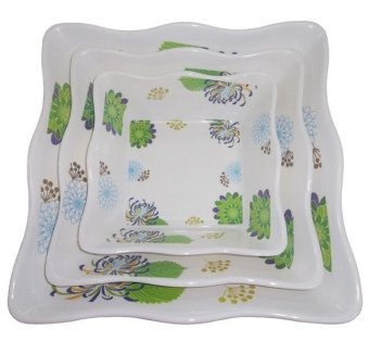 Nippon Ware S9033-B Floral Dish 3-piece Set (White)
