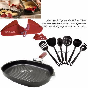 Non-stick Square Grill Pan 28cm With Heat Resistance Plastic Ladle6-piece set (Black) and Silicone Multipurpose Funnel Strainer (Red)