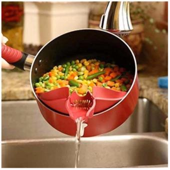 Non-stick Square Grill Pan 28cm) with Silicone Multipurpose FunnelStrainer (Red) - 5
