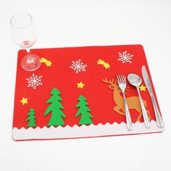 Non-woven Mat Placemats For Christmas Festival Party Decorations (Elk) by LuckyG - intl - picture 2