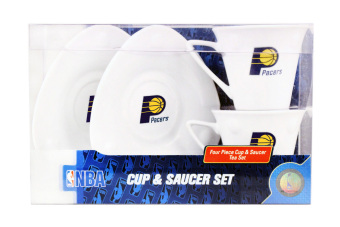 Ocean Glassware NBA Indiana Pacers Cup and Saucer 4-piece Set